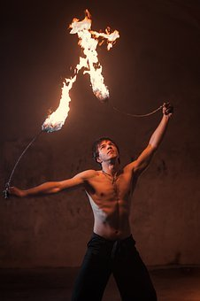 Fire, Mouth, Man, Circus, Performer