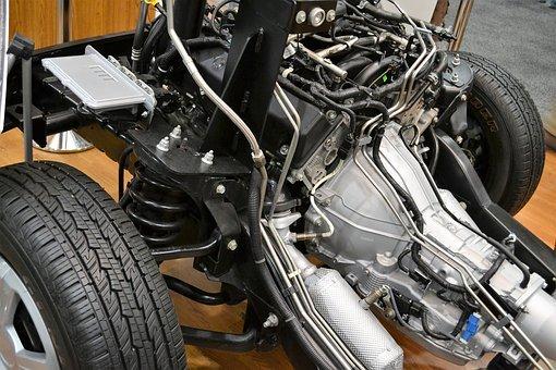 Car Engine, Motor, Wires, Suspension