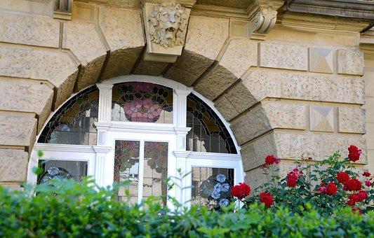 Flowers, Window, Art Nouveau, Facade