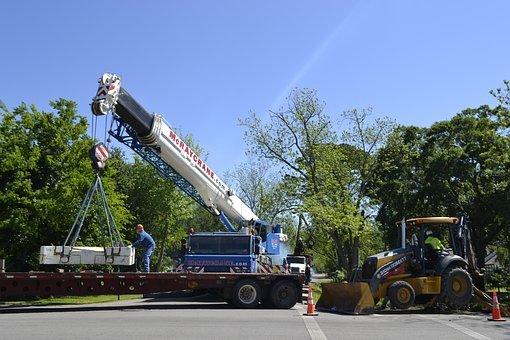Crane, Bulldozer, Extraction, Clean-Up