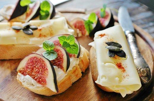 Fig, Cheese, Cream Cheese, Bread