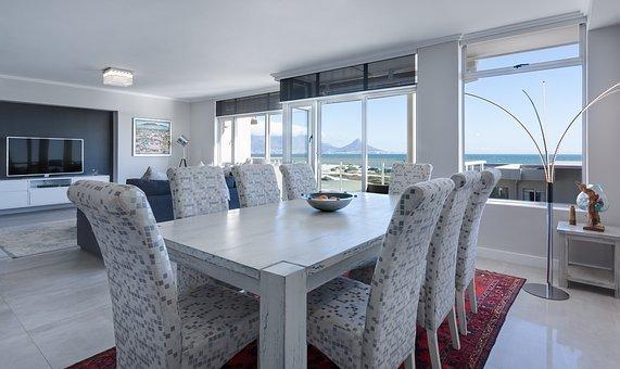 Dining Room, Living Room, Modern, White