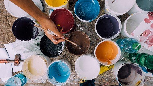 Painter, Paint Cans, Brush, Paintbrush