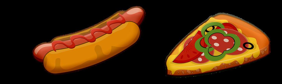 Pizza, Hot Dog, Fast Food, Food, Sausage